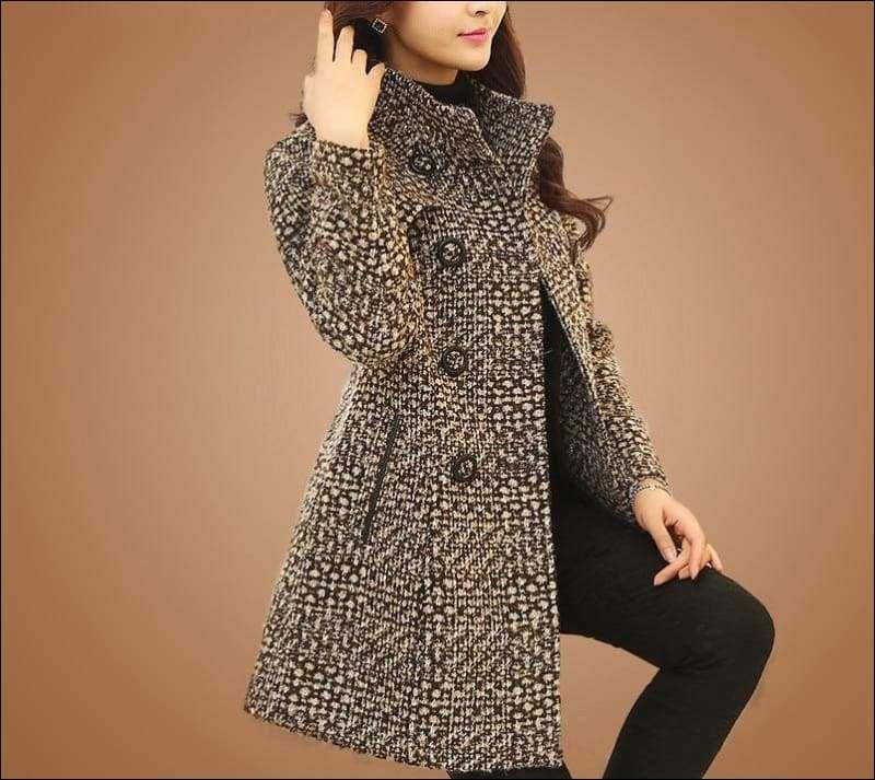 Elegant Black Turtleneck Coat Woolen