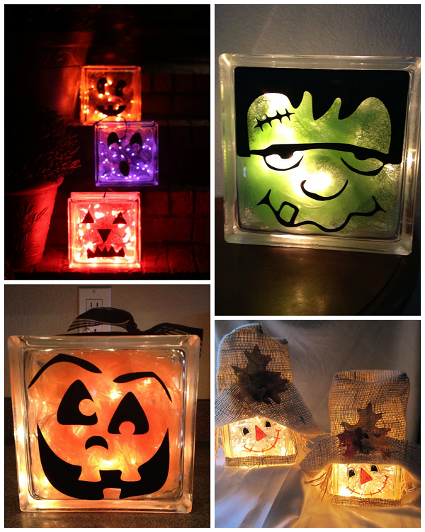 Fall Halloween Craft Ideas Part - 50: Fall/Halloween Glass Block Crafts
