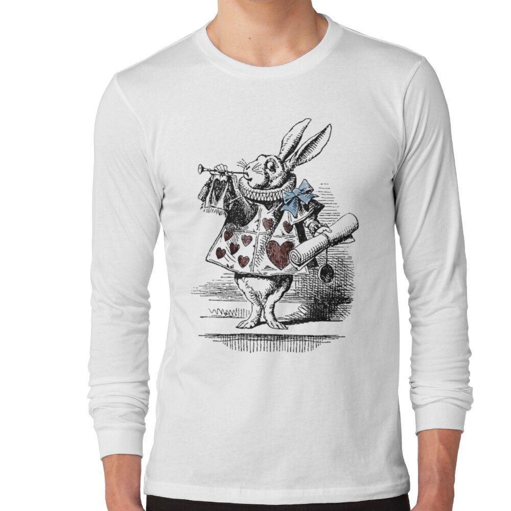 White Rabbit From Alice's Adventures In Wonderland Long Sleeve T-shirt by simpsonvisuals