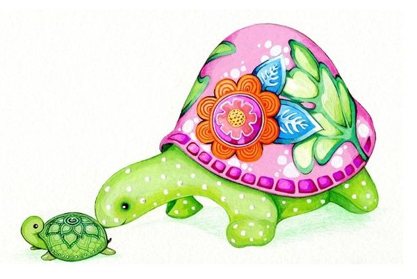 Mom and Baby Turtle Art Print by Annya Kai | Society6