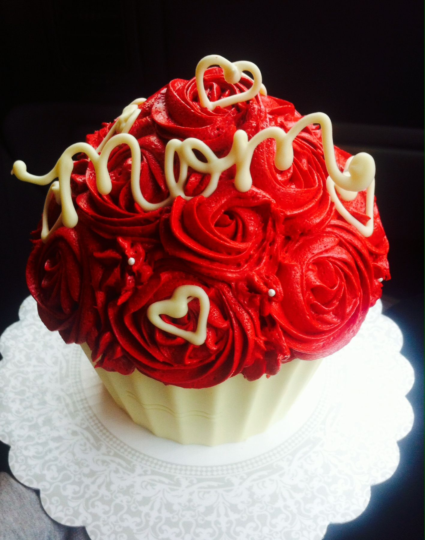 Giant Red Velvet Cupcake Buttercream Frosting White