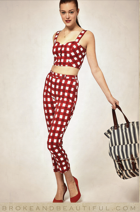 Retro Red Gingham pants and crop top outfit