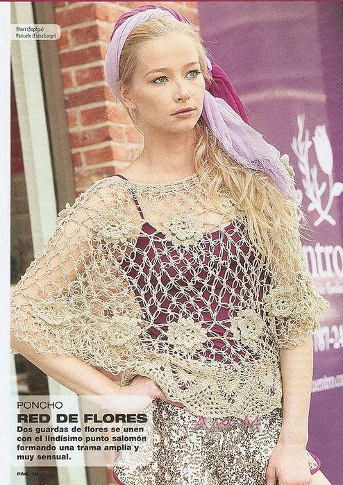 Patrones para Crochet: Poncho Red de Flores en Crochet | LE CROCHET ...