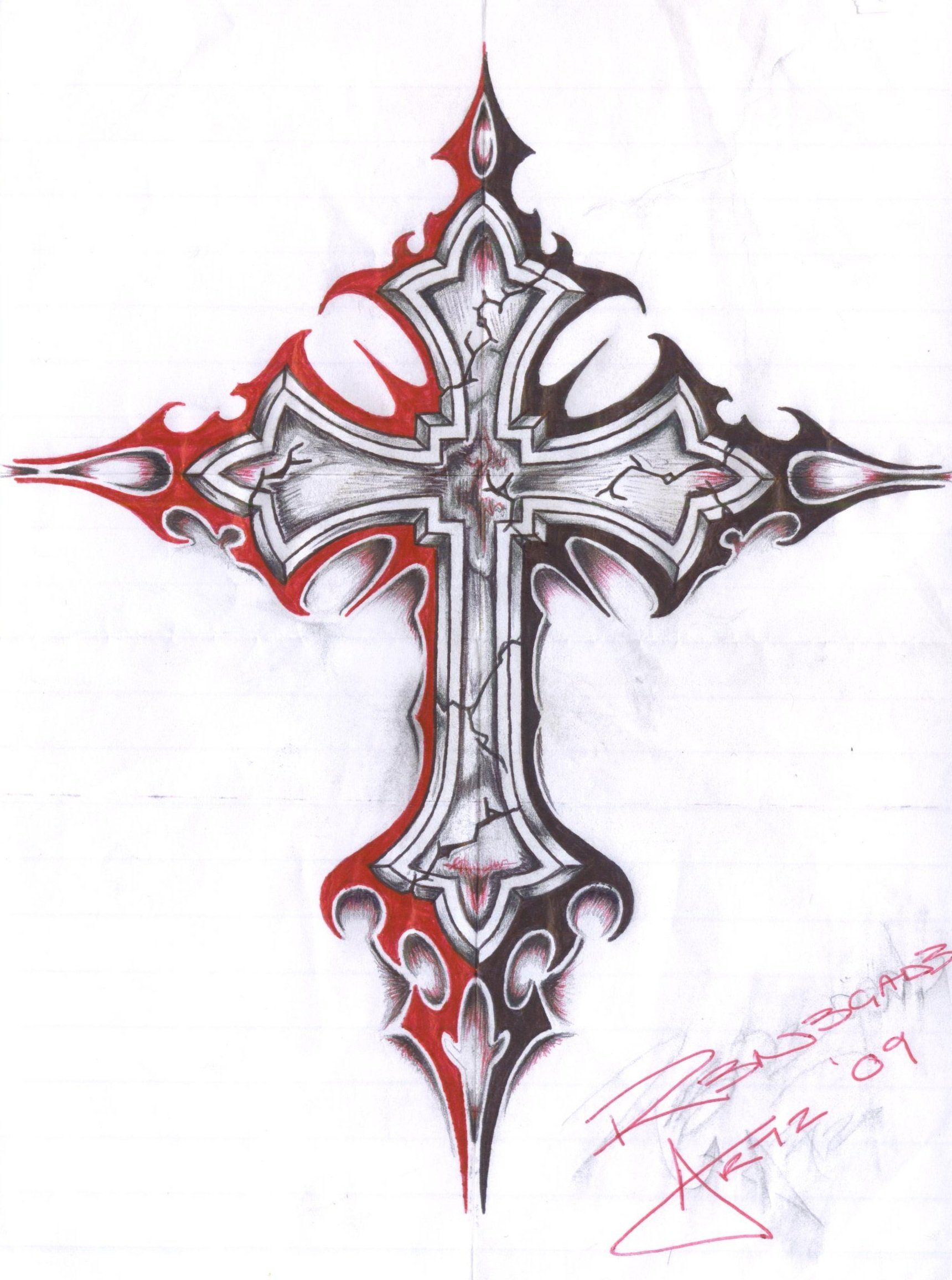 Pin On Gothic Cross Tattoos