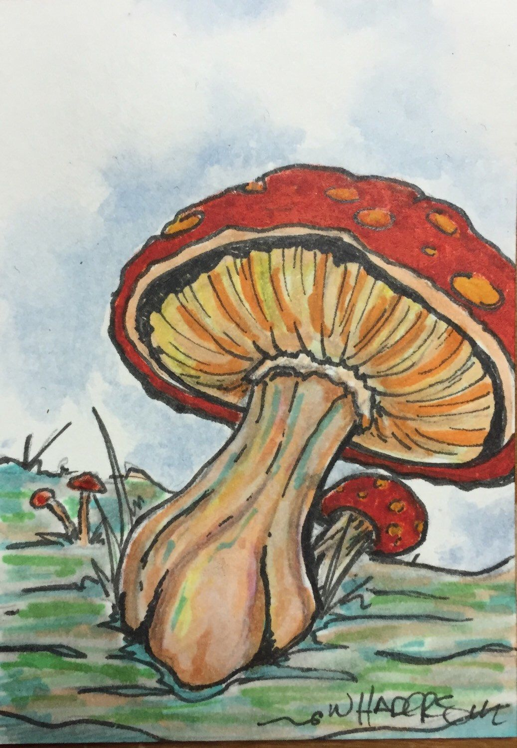 Original ACEO Art Card Mushroom Magic by William Haders by CuriosityCrate6 on Etsy https://www.etsy.com/listing/251928642/original-aceo-art-card-mushroom-magic-by