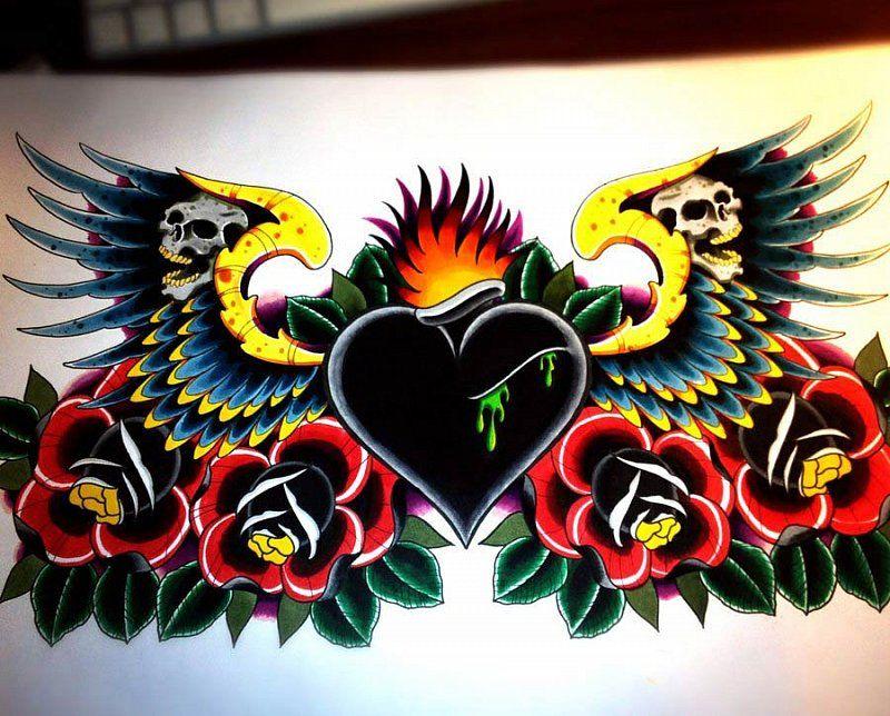 Chest Heart Tattoo Design