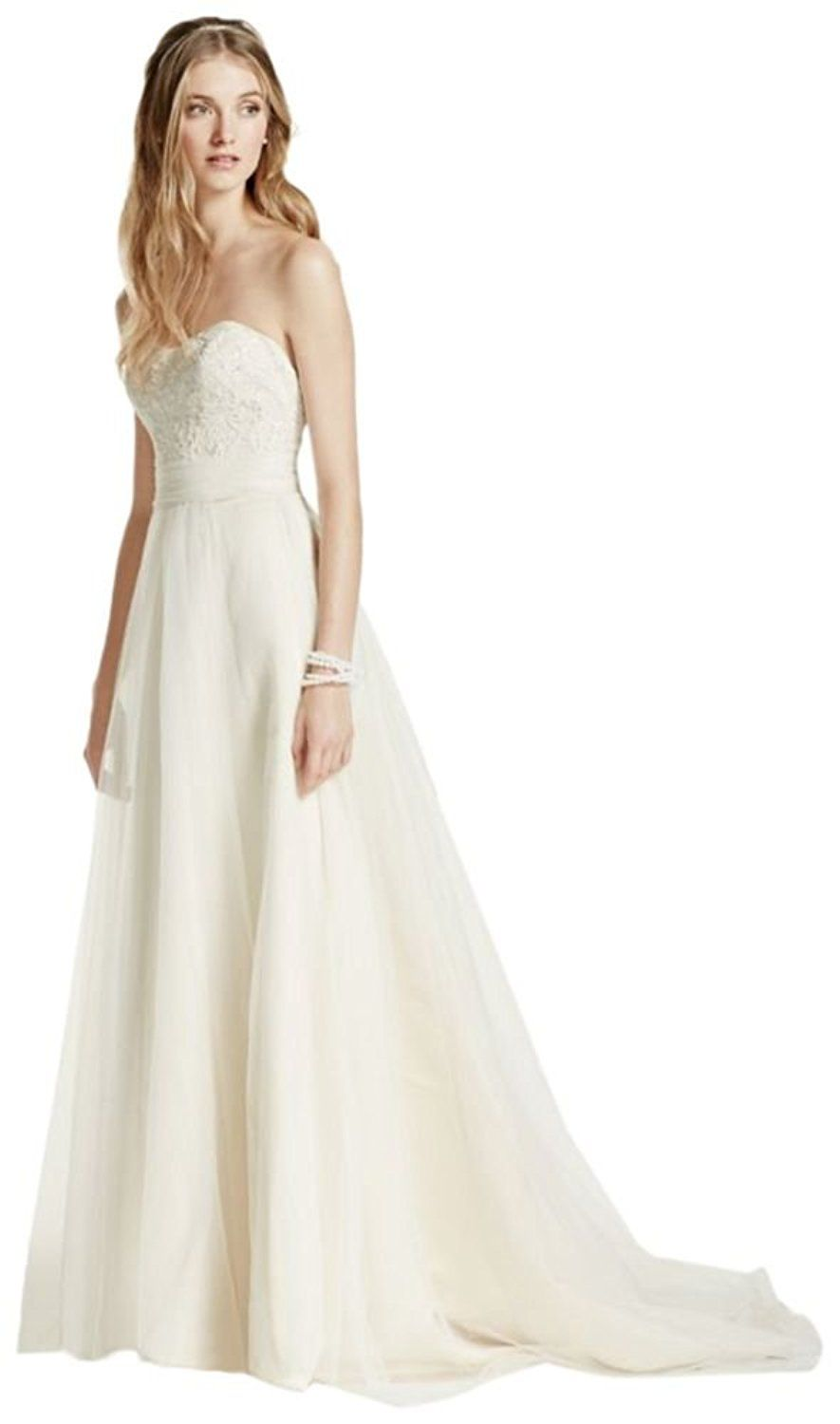 Strapless aline beaded lace tulle wedding dress style wg be
