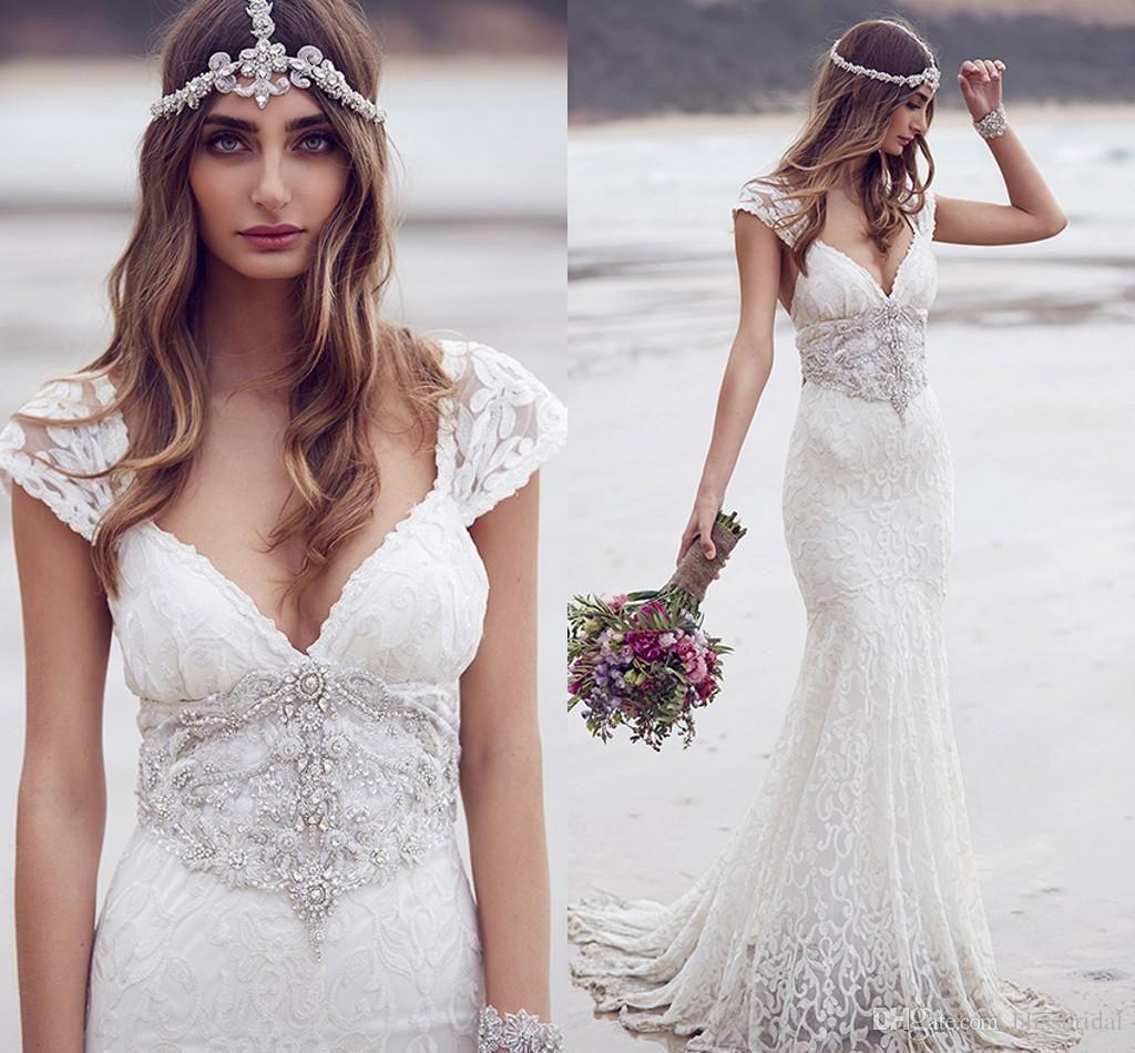 bohemian trumpet lace wedding dresses with crystal sash luxury