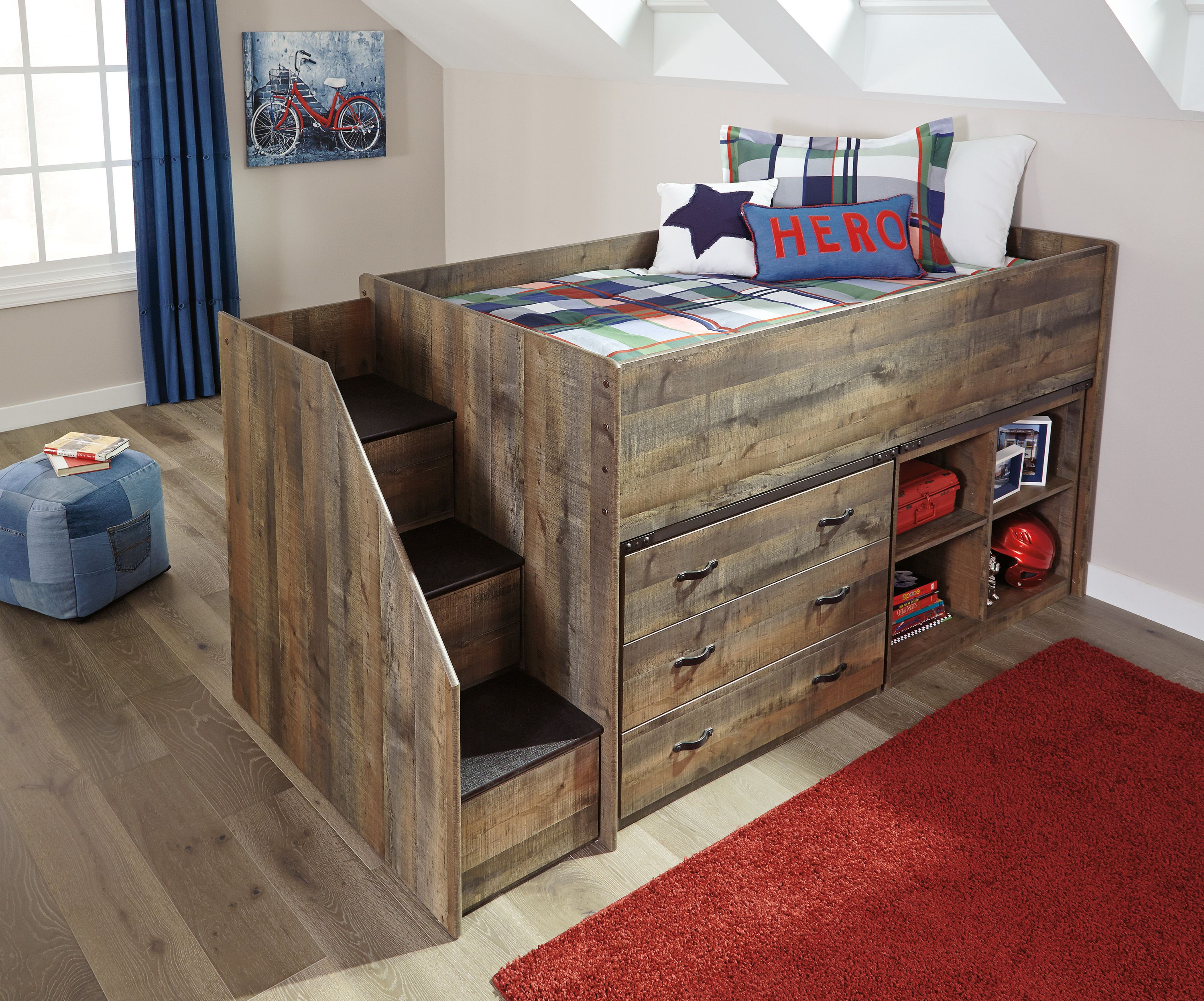 Warm Rustic Plank Finish Over Replicated Oak Grain Tops Of Cases And Headboard Footboard Panels