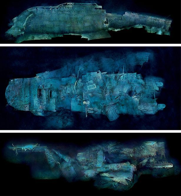 Titanic wreck bow and stern as they sit today on the ...