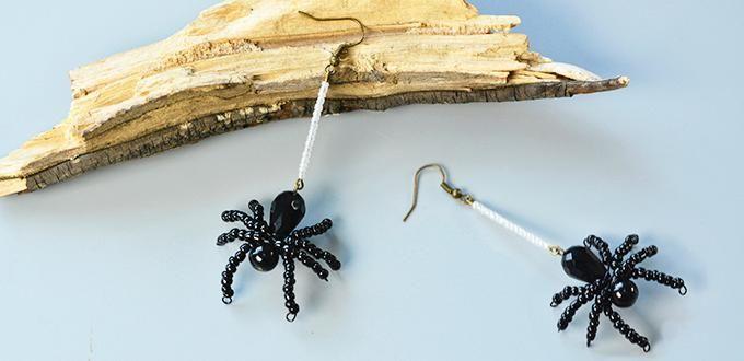 Pandahall Anleitung, wie man ein Paar wulstige Spinne Ohrringe für Halloween zu machen