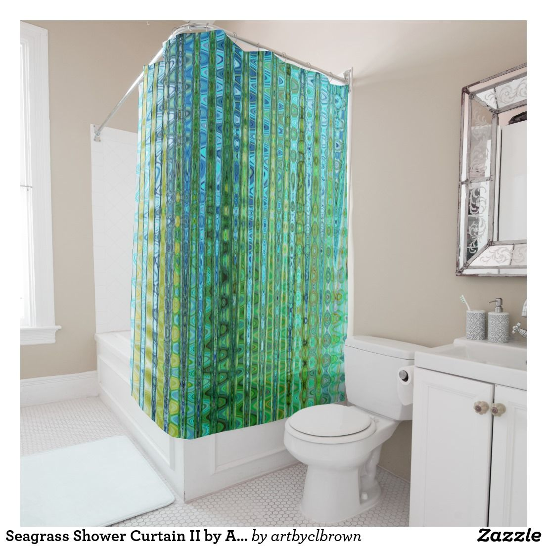 Seagrass Shower Curtain II By Artist CL Brown