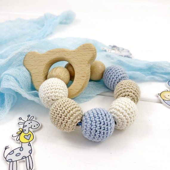 Natural Beech and Silicone Bunny Teething Ring Eco Friendly Promote Fine Motor Skills   Grey Soothe Baby/'s Sore Gums Fun