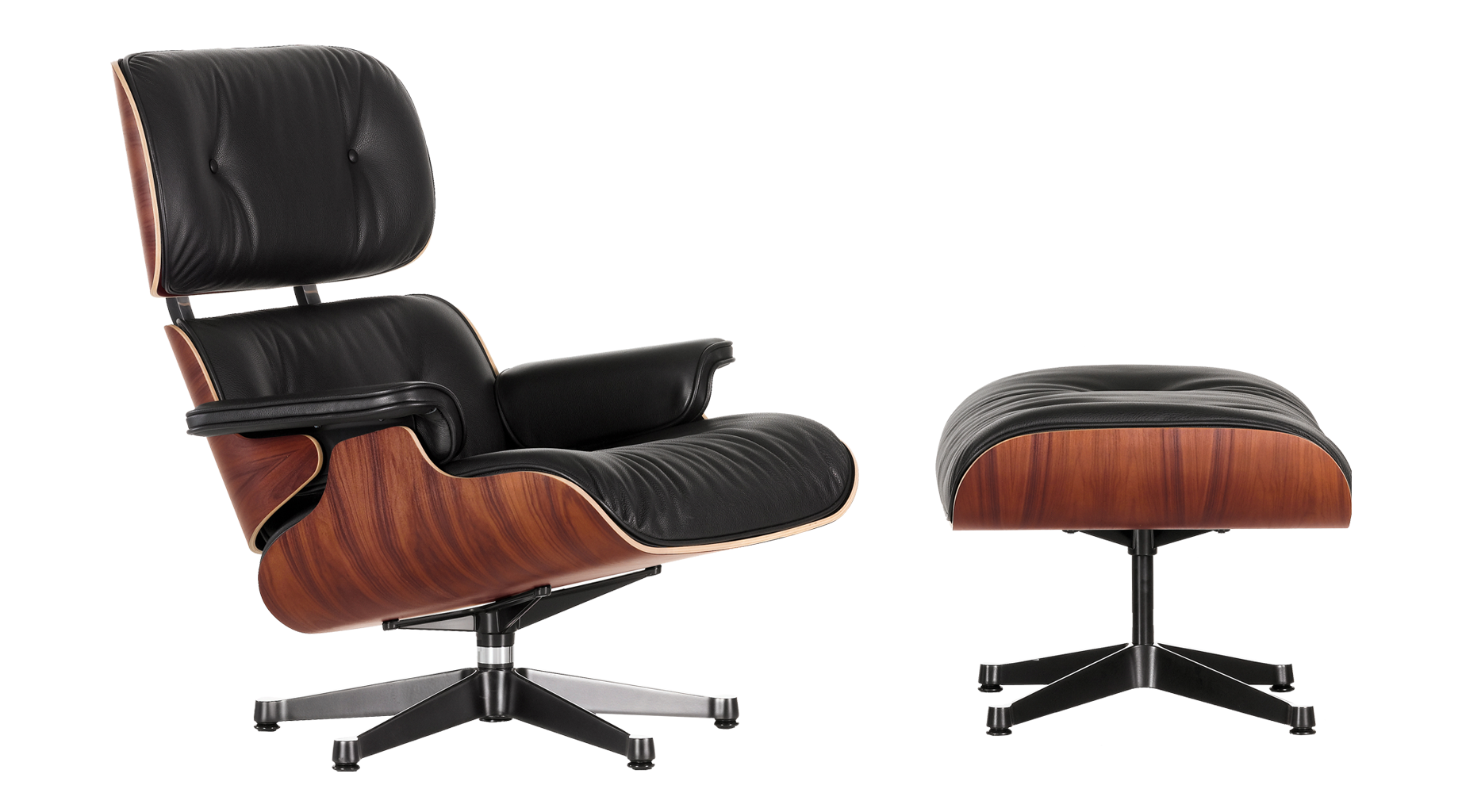 Astonishing Tall Eames Lounger Ottoman Black Leather Santos Palisander Pabps2019 Chair Design Images Pabps2019Com