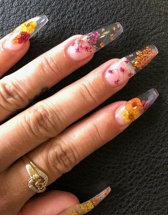 54 Pretty Dried Flower Nail Art Designs Coffin Shape Nails Long Nail Designs Flower Nails