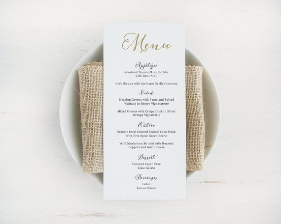Printable Wedding Menu Template, Editable Text and Color, Instant - menu template for word