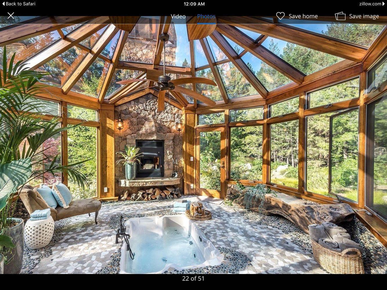 Indoor Hot Tub And Solarium In 2019 Hot Tub Room