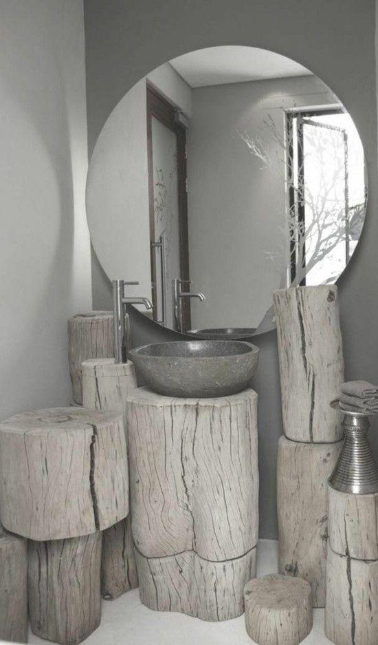 Salle De Bain Aménagement Mobilier Bois Miroir Lavabo