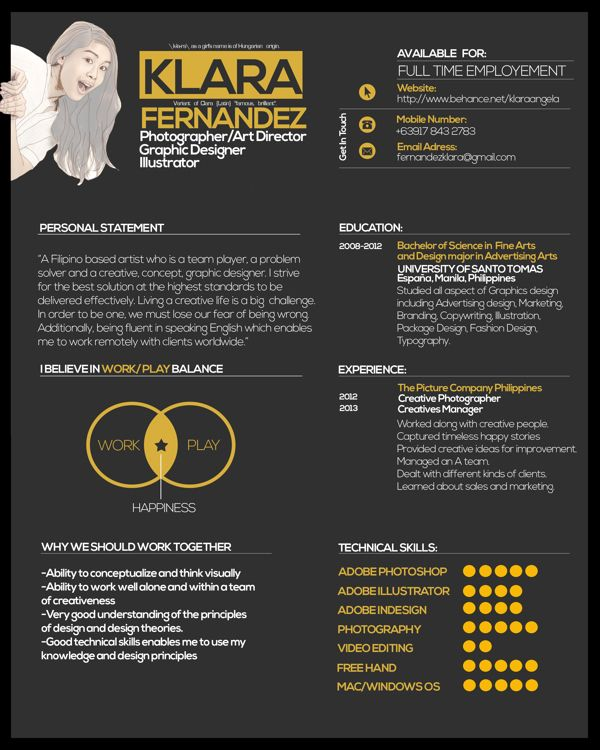 Curriculum Vitae by Klara Fernandez, via Behance ULTIMATE Resume - resume vitae
