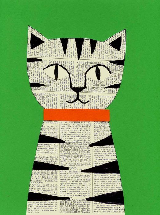 Newsprint Collage Cat · Art Projects for Kids