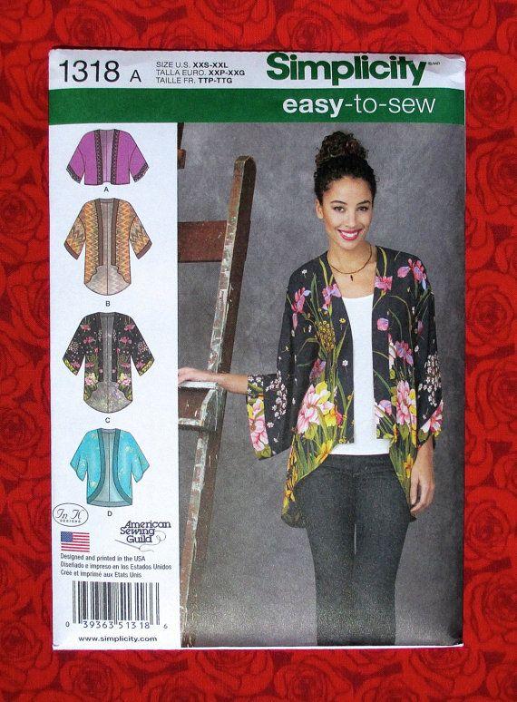 Simplicity 1318 Easy Sewing Pattern Kimono Jacket, Hi Lo Coat Top ...