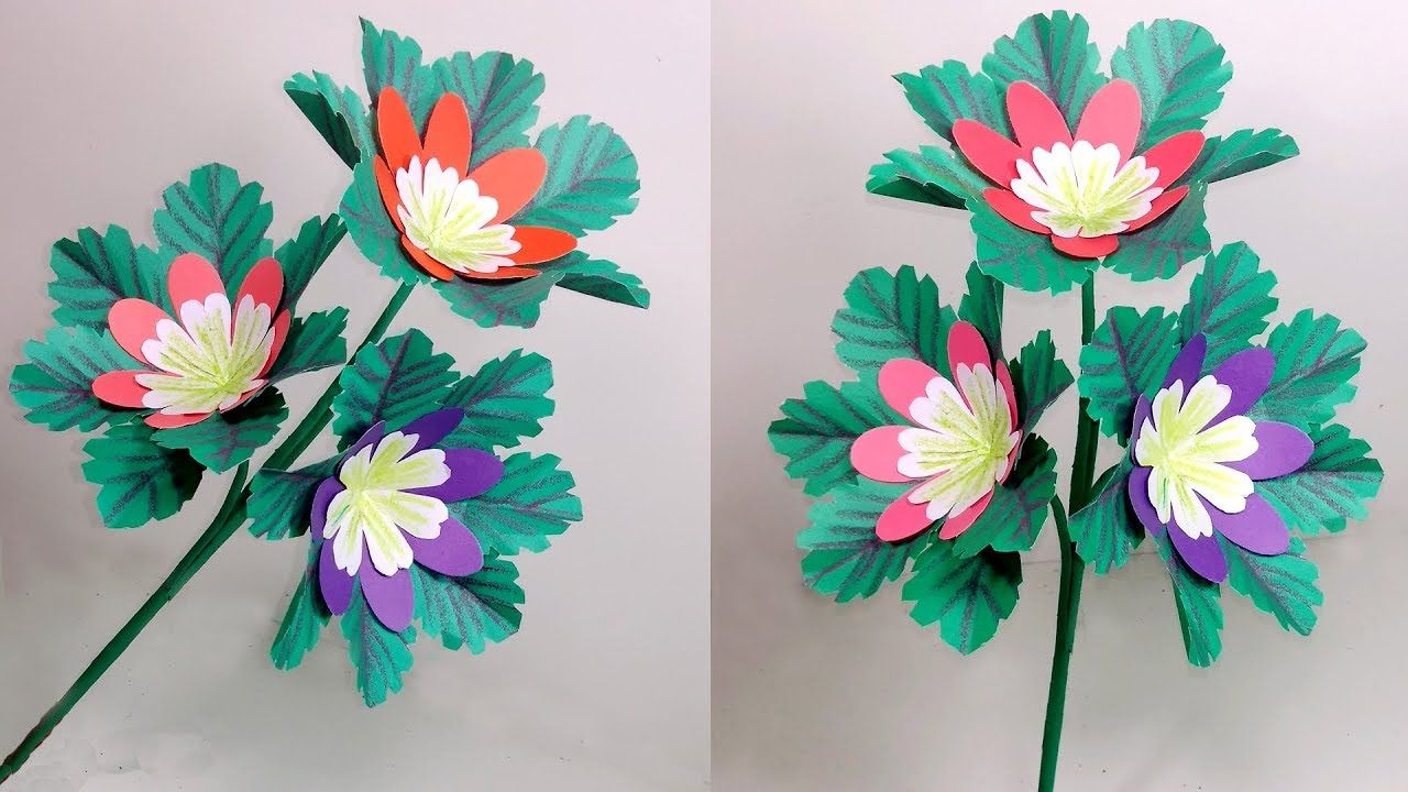 Stick Flower Making Ideas With Paper Stick Flower Home Decoration