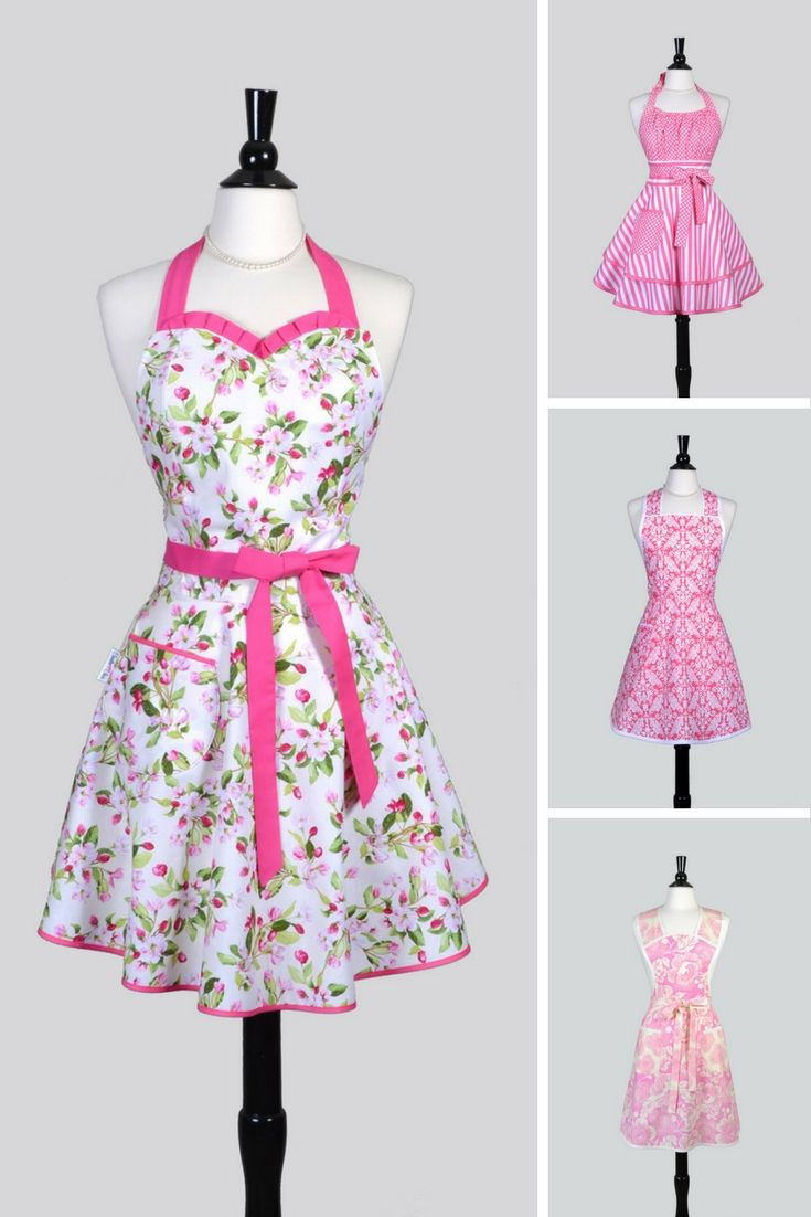 Superbe Pretty In Pink Spring Floral Vintage Style Womens Kitchen Aprons That Make  Great Easter Or Mothers Day Gifts.