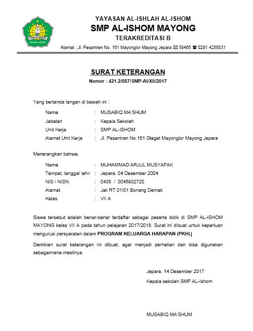 Contoh Surat Keterangan Pkh Contoh