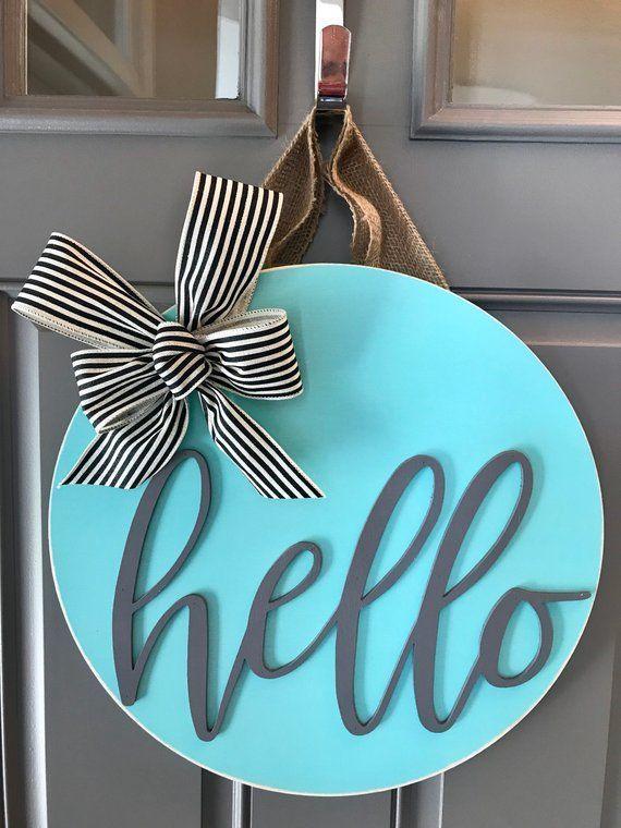 Front Door Sign, Wreath For Front Door, Door Decor, Door Decoration, Hello Door Sign, Hello Door Hanger, Front Door Wreath, Modern Door Sign