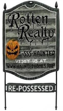outdoor halloween decorations rotten realty lawn sign