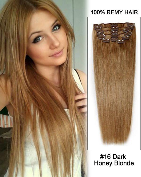"9cc40efcd96 20"" 11pcs #16 Dark Honey Blonde Straight Clip in Remy Human Hair Extensions"
