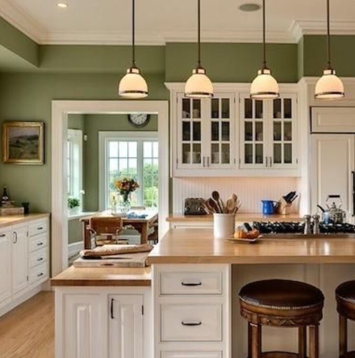 I M Thinking Olive For My Kitchen My Cabinets Are Already White And My Counter Tops Are Tan So Green Kitchen Walls Paint For Kitchen Walls Kitchen Wall Colors