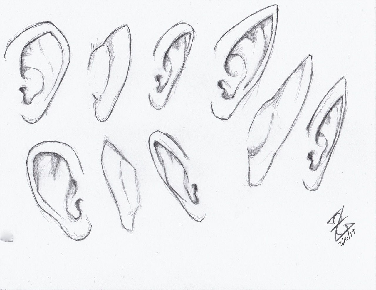 Human And Elf Ears Reference Drawing By Zerkcie On Deviantart Elf Drawings Elf Ears Ear Art