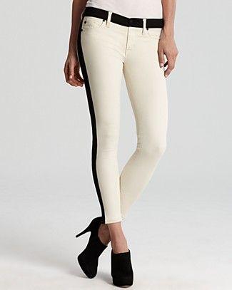 067e269247f Hudson Jeans - LeeLoo Color Block Super Skinny Crop in Bone - White Tuxedo  Stripe jeans!