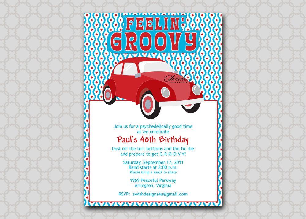 60s theme birthday invite | VW bug | Groovy 60s 70s | Hippie ...