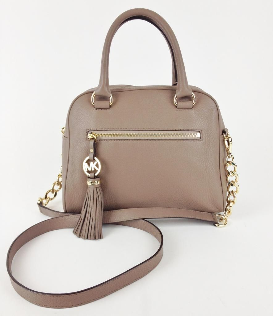 Michael Kors Knox Tassel Medium Dark Dune Leather Satchel Bag ...