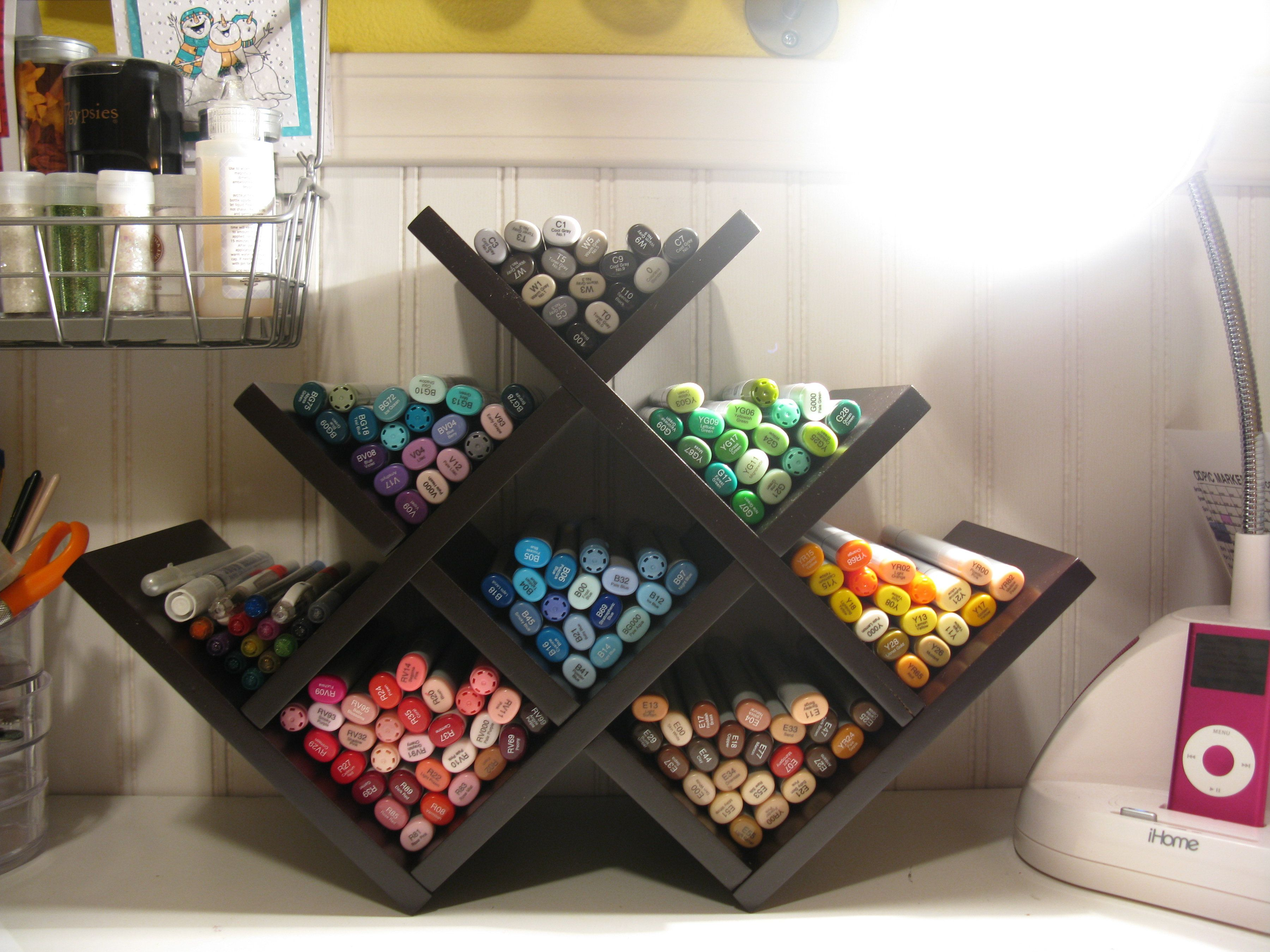 My Copic Storage Scrapbook Com Store Your Markers Using A Wine Rack Scrapbooking Storage Organization Craft Organization Marker Storage Craft Storage