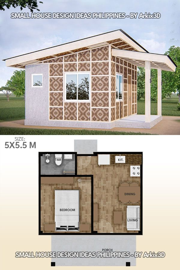1 Bedroom Small House Amakan Version Small House Design Small House Design Plans Small House Floor Plans Small house floor plan 1 bedroom