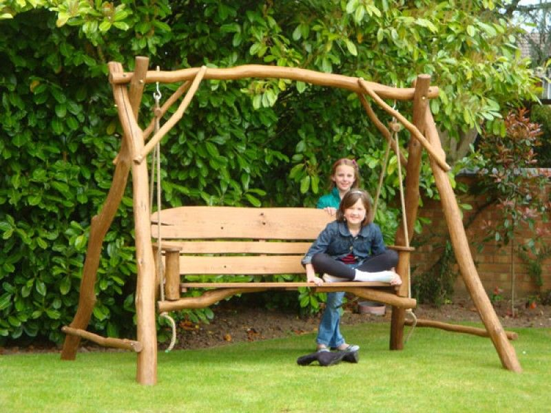 Rustic Oak Garden Swing Seat For Three People Hand Made From Responsibly  Sourced Oak Branches.