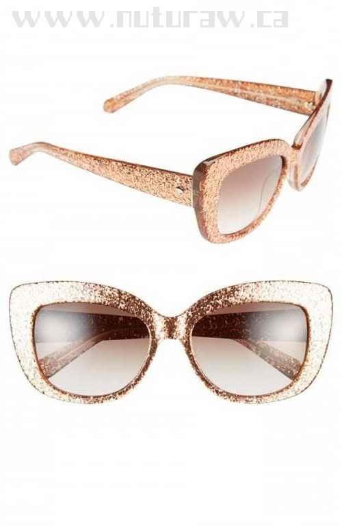 80d590d0fc GF892241 Kate Spade Women s New York 55mm Cat Eye Sunglasses Rose Gold  Glitter