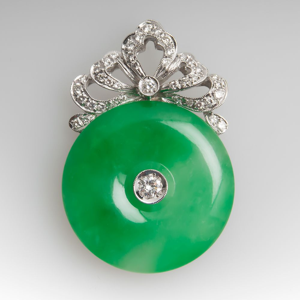 Jade disc and diamond pendant the garden of gems and jewelries jade disc and diamond pendant aloadofball Image collections
