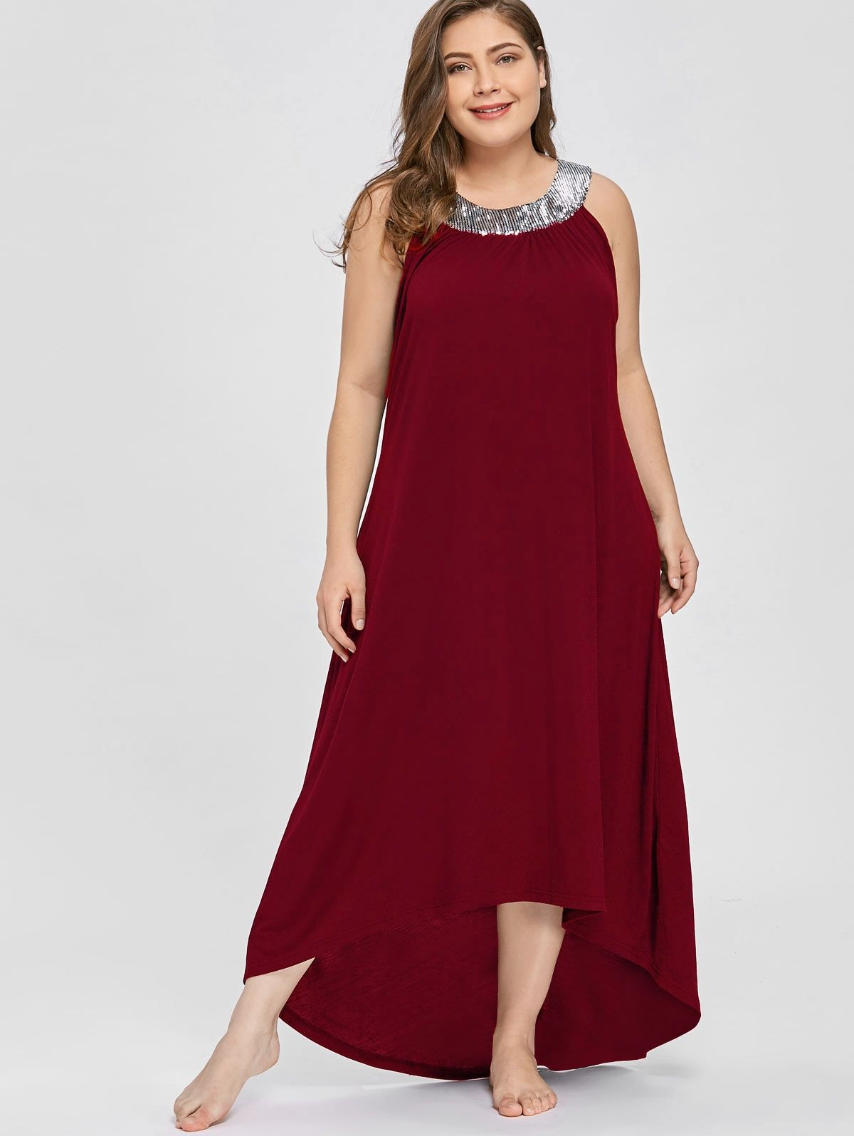 fb222293c8 Plus Size 5XL Sequin Collar Sleeveless Long Maxi Dress Sexy Black Elegant  Evening Party Dress Boho Beach