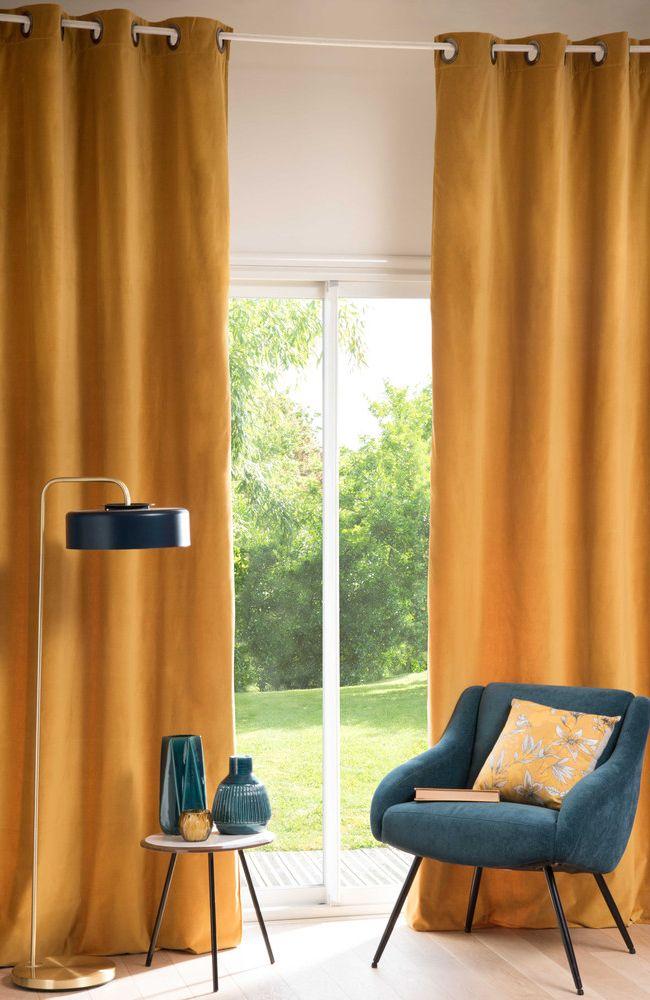 Mustard Yellow Velvet Curtain 140 X 300 Cm