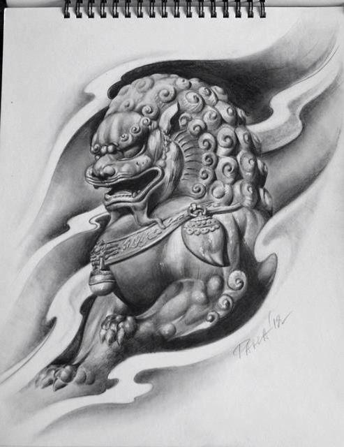 Barbero Pueblo Foo Dog Tattoo Design Foo Dog Tattoo Dog Tattoos