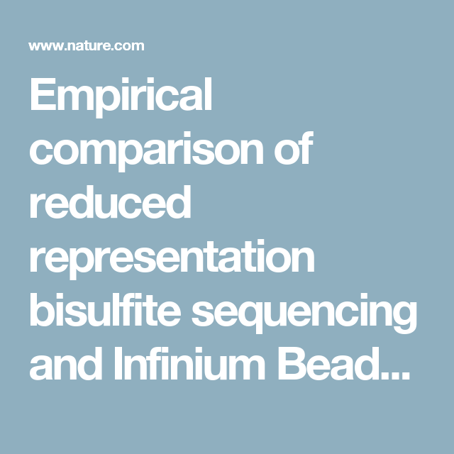 Empirical comparison of reduced representation bisulfite sequencing empirical comparison of reduced representation bisulfite sequencing and infinium beadchip reproducibility and coverage of dna methylation malvernweather Gallery