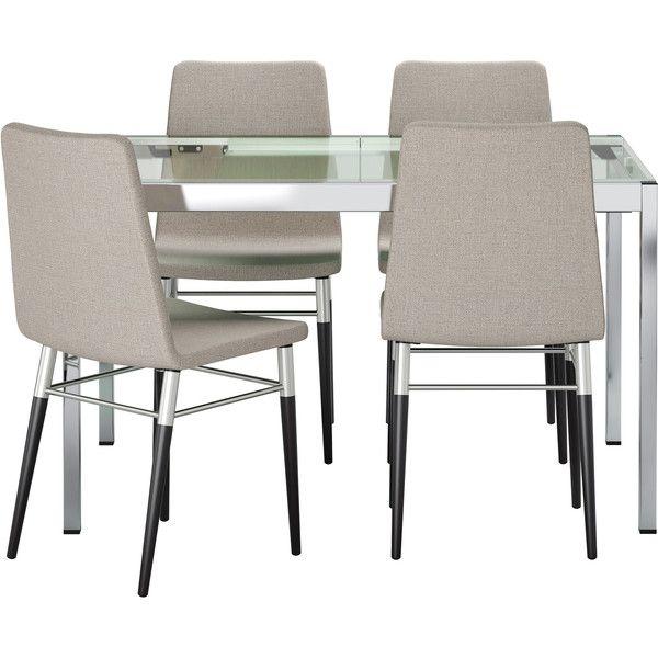 IKEA GLIVARP/ PREBEN Table and 4 chairs, clear, Tenö light gray