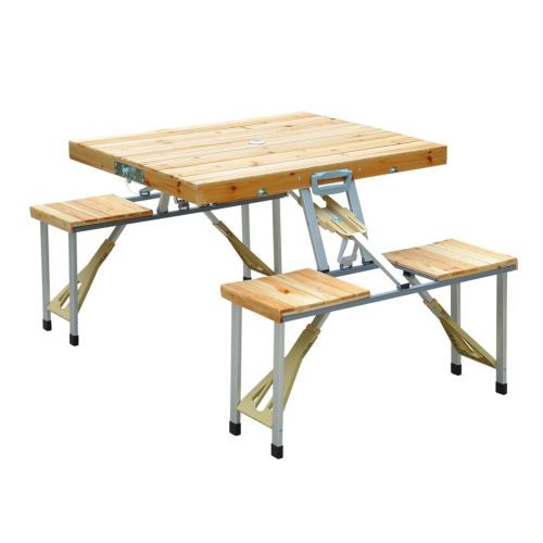 wooden picnic table bench seat outdoor portable folding camping aluminum w case