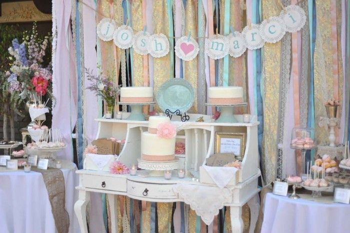 WOW. vintage ribbon, lace and fabric backdrop (by amy atlas) amazing!