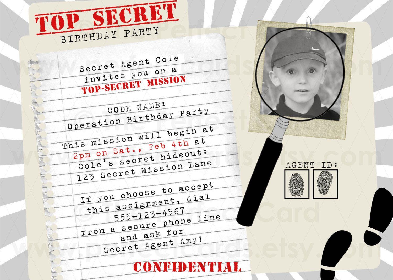 Top Secret Spy Birthday Party Invitation