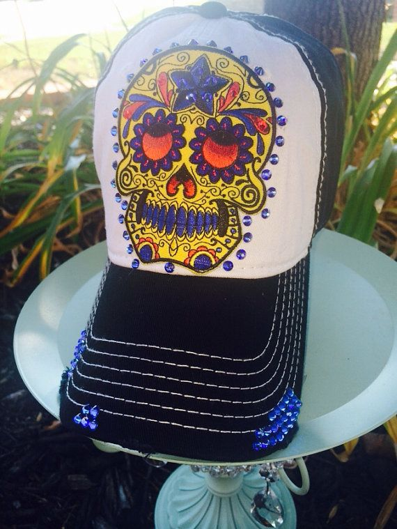 664e5c4d Sugar Skull/Day of the Dead Distressed Baseball Style Hat.... EXTRA ...